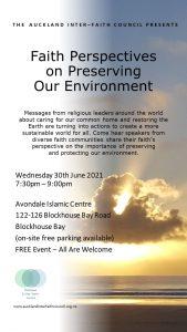 AIFCFaithEnv 30Jun21 PosterV2 169x300 - Auckland Inter-Faith Council presents Faith Perspectives on Preserving our Environment