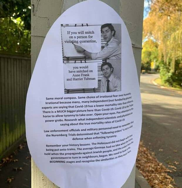 Covid-19: Christchurch leaflet compares lockdown laws to Nazi Germany, Holocaust