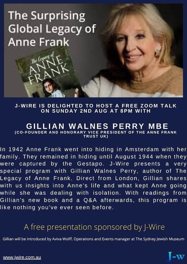 Gillian Walnes Perry - Aug-02 10pm Zoom: Anne Frank and her global legacy