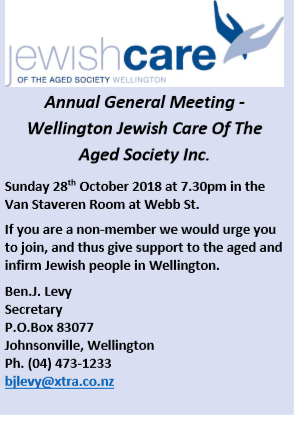 Jewish care - AGM of Wellington Jewish Care of the Aged
