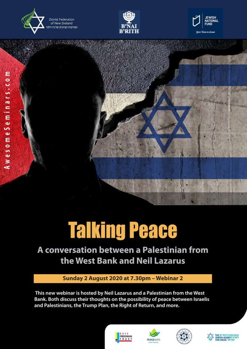 Neil Lazarus Webinar 2 Talking Peace 2nd August without the zoom link details scaled - Invitation: Webinar two about Israel and the Middle East - Neil Lazarus on 2 August