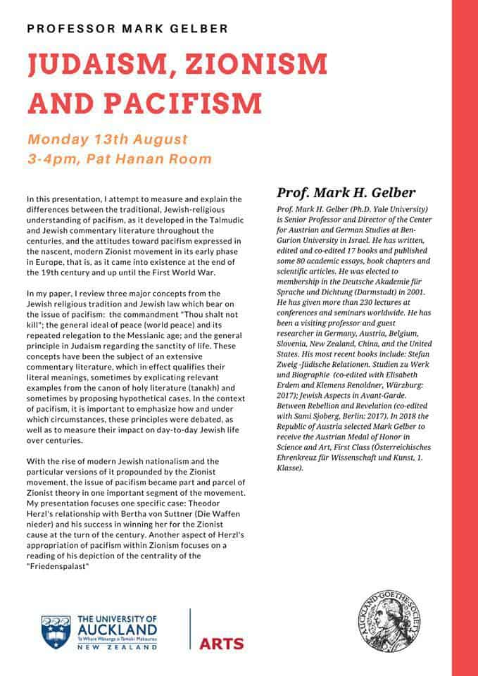 gelber2 - Judaism, Zionism and Pacifism - a lecture by Prof Mark Gelber
