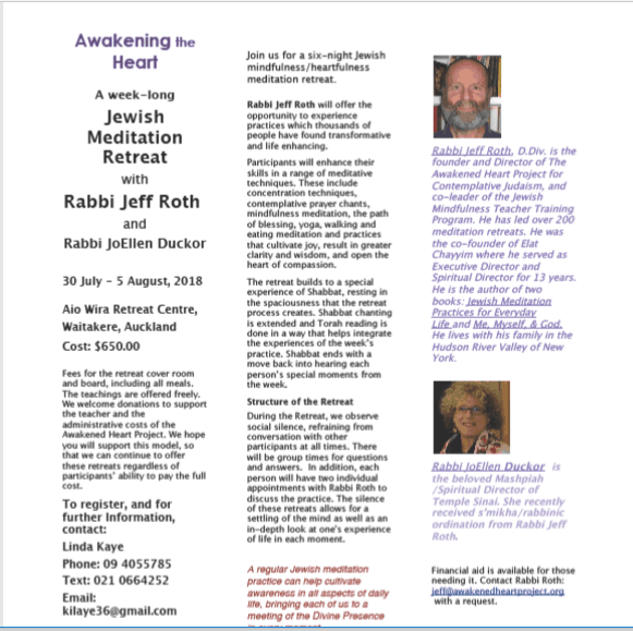 retreat - Six-night Jewish Meditation retreat